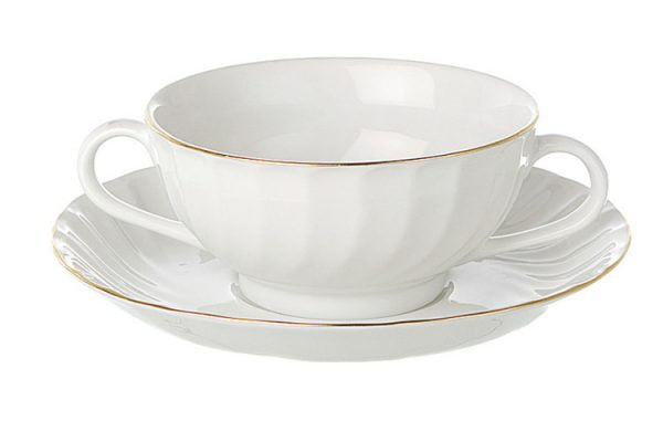 Soup Cup Saucer Gold Line (packs of 10)